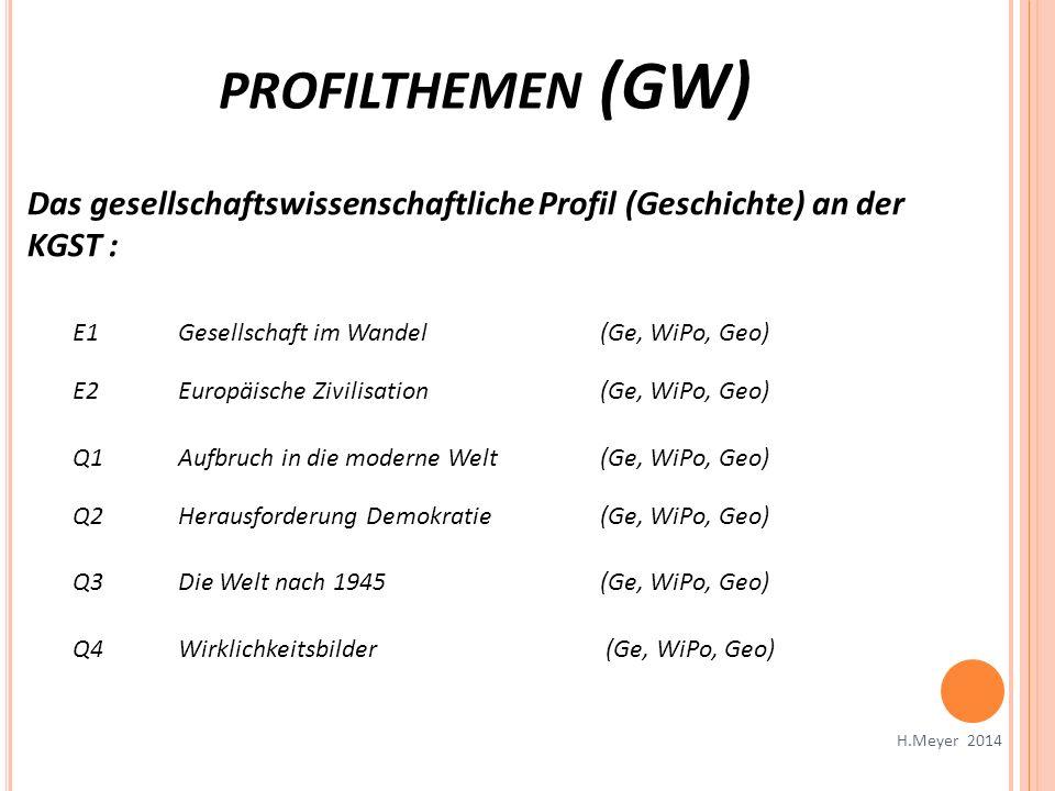 profilthemen (GW) Das gesellschaftswissenschaftliche Profil (Geschichte) an der KGST : E1 Gesellschaft im Wandel (Ge, WiPo, Geo)