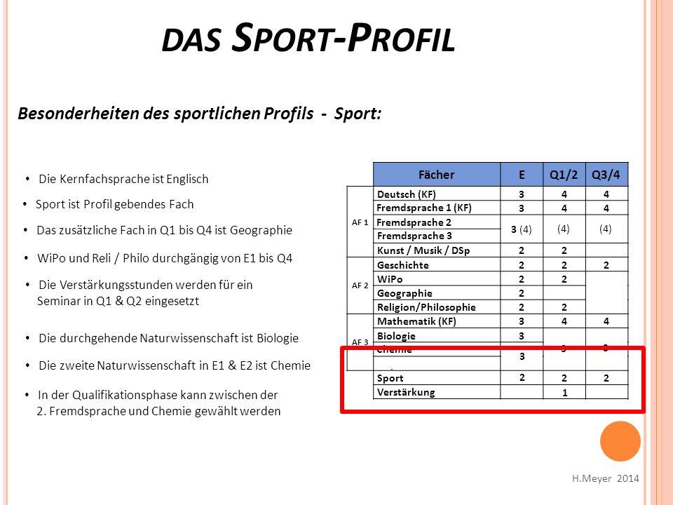 das Sport-Profil Besonderheiten des sportlichen Profils - Sport: