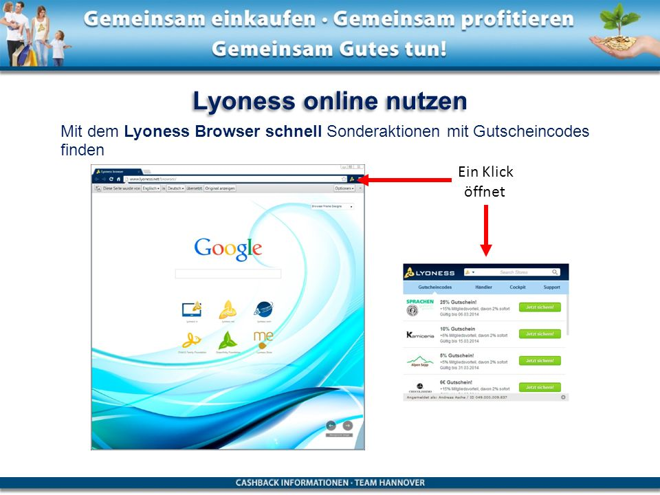 Lyoness online nutzen Mit dem Lyoness Browser schnell Sonderaktionen mit Gutscheincodes finden. Ein Klick.