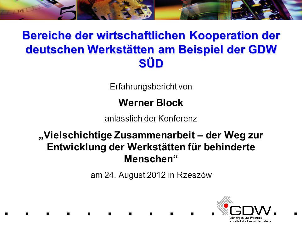 Bereiche der wirtschaftlichen Kooperation der deutschen Werkstätten am Beispiel der GDW SÜD