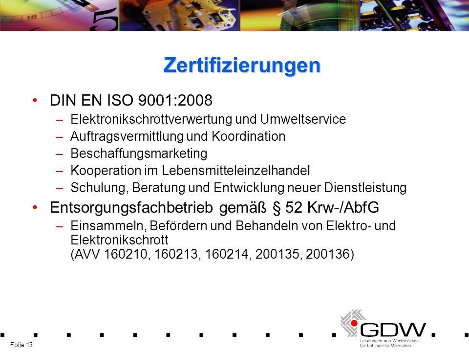 Zertifizierungen DIN EN ISO 9001:2008