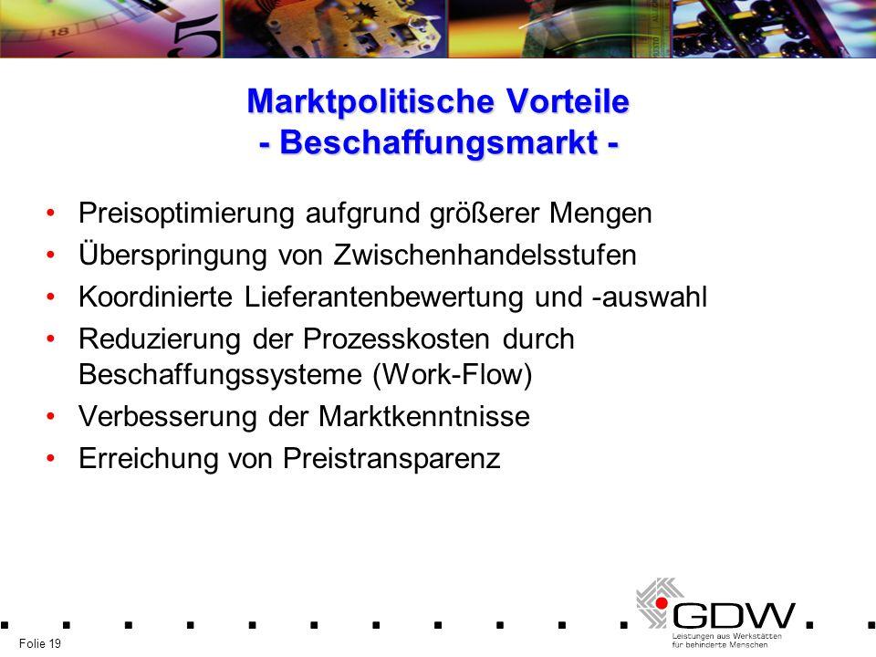 Marktpolitische Vorteile - Beschaffungsmarkt -
