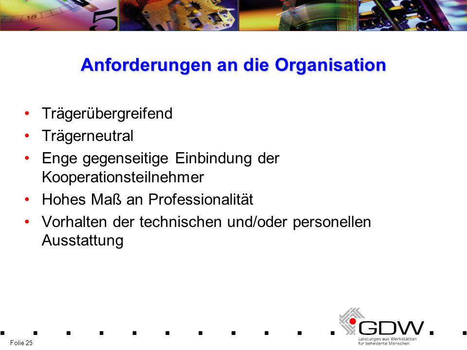 Anforderungen an die Organisation