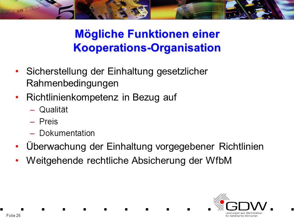 Mögliche Funktionen einer Kooperations-Organisation