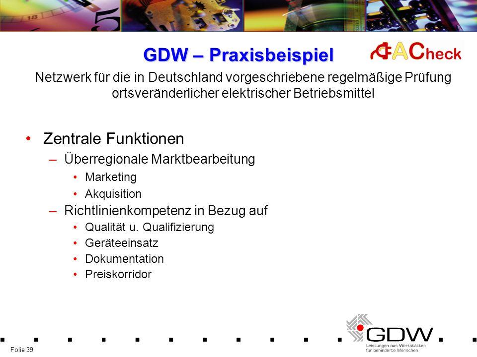 GDW – Praxisbeispiel Zentrale Funktionen