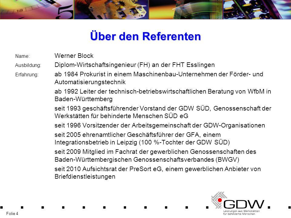 Über den Referenten Name: Werner Block. Ausbildung: Diplom-Wirtschaftsingenieur (FH) an der FHT Esslingen.