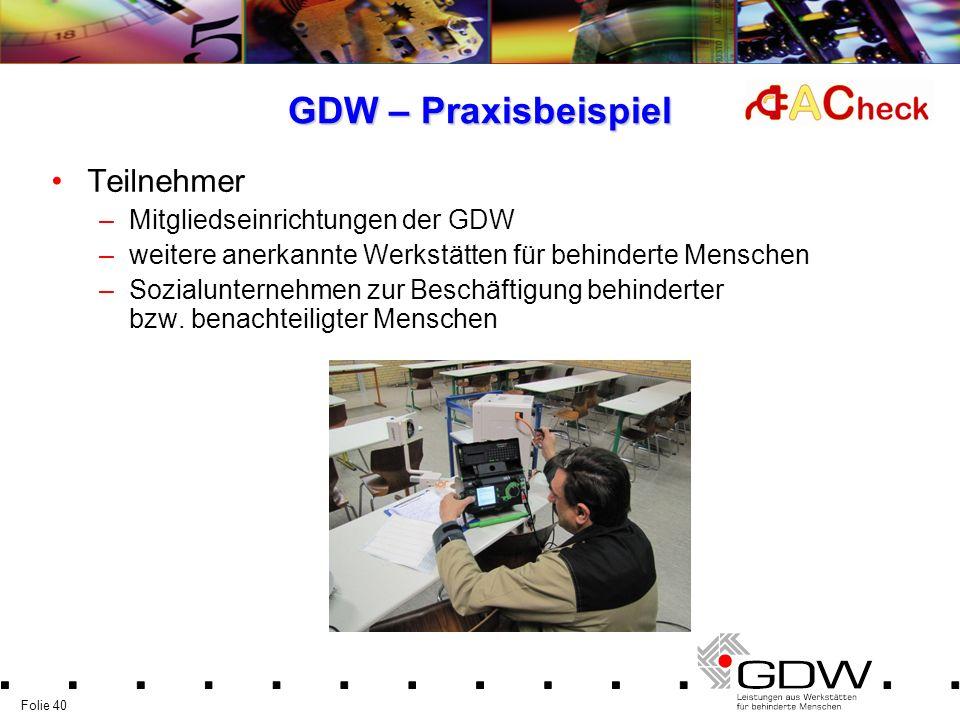 GDW – Praxisbeispiel Teilnehmer Mitgliedseinrichtungen der GDW