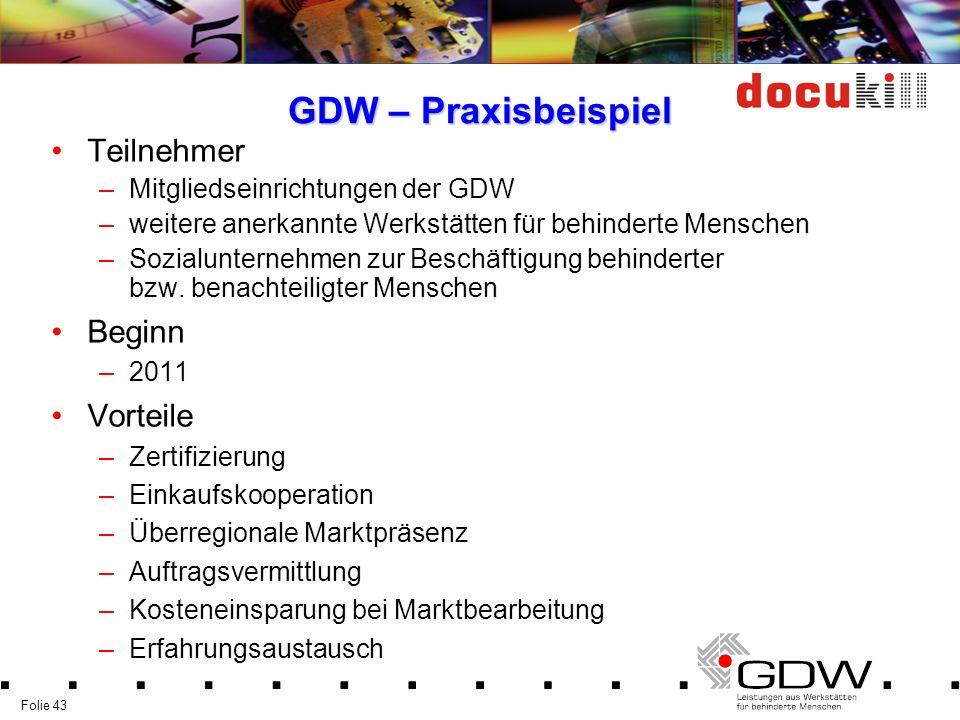 GDW – Praxisbeispiel Teilnehmer Beginn Vorteile