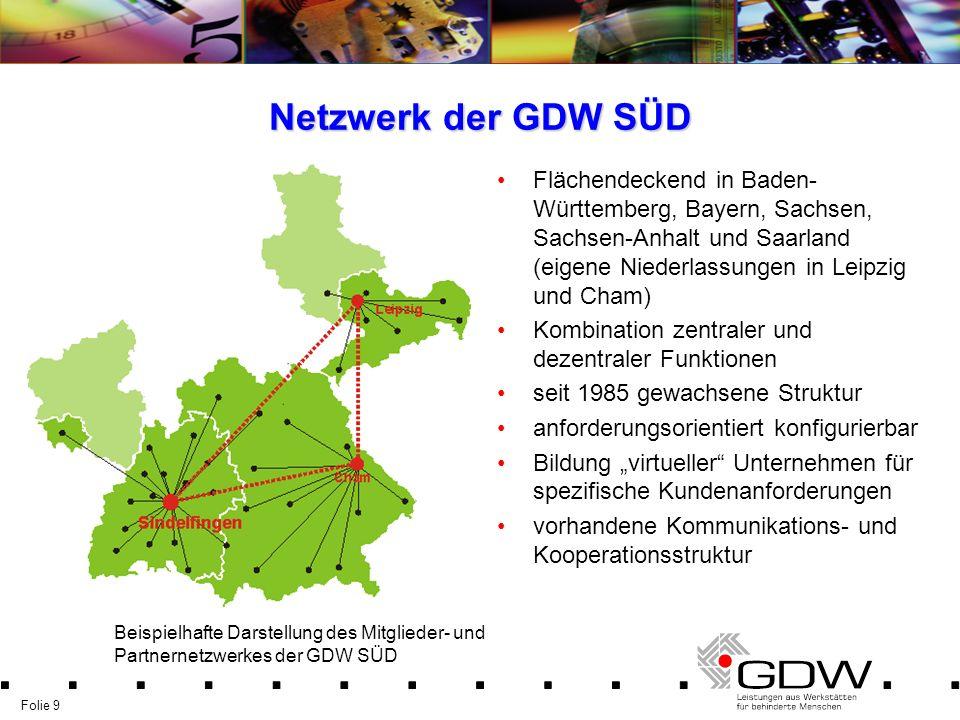 Netzwerk der GDW SÜD Flächendeckend in Baden-Württemberg, Bayern, Sachsen, Sachsen-Anhalt und Saarland (eigene Niederlassungen in Leipzig und Cham)