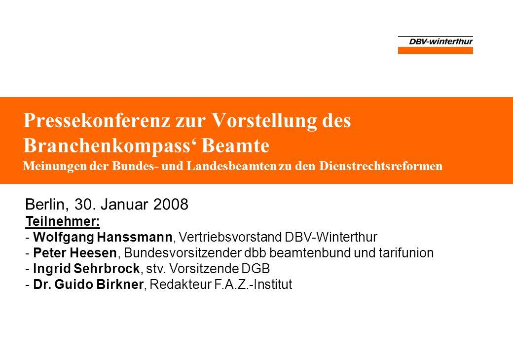 Pressekonferenz zur Vorstellung des Branchenkompass' Beamte Meinungen der Bundes- und Landesbeamten zu den Dienstrechtsreformen