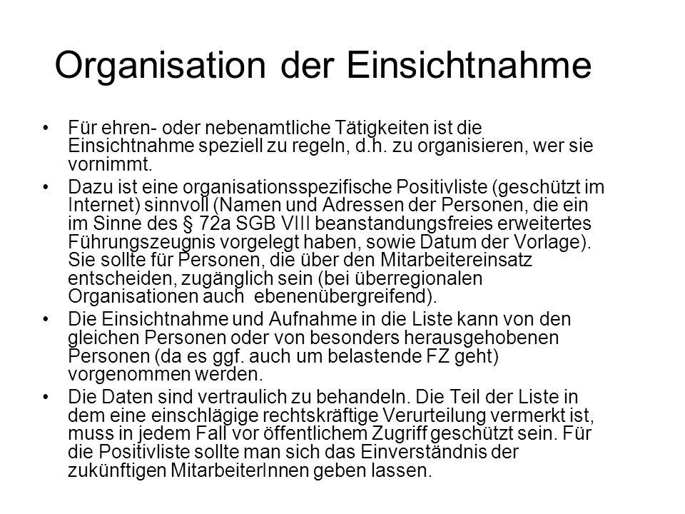 Organisation der Einsichtnahme