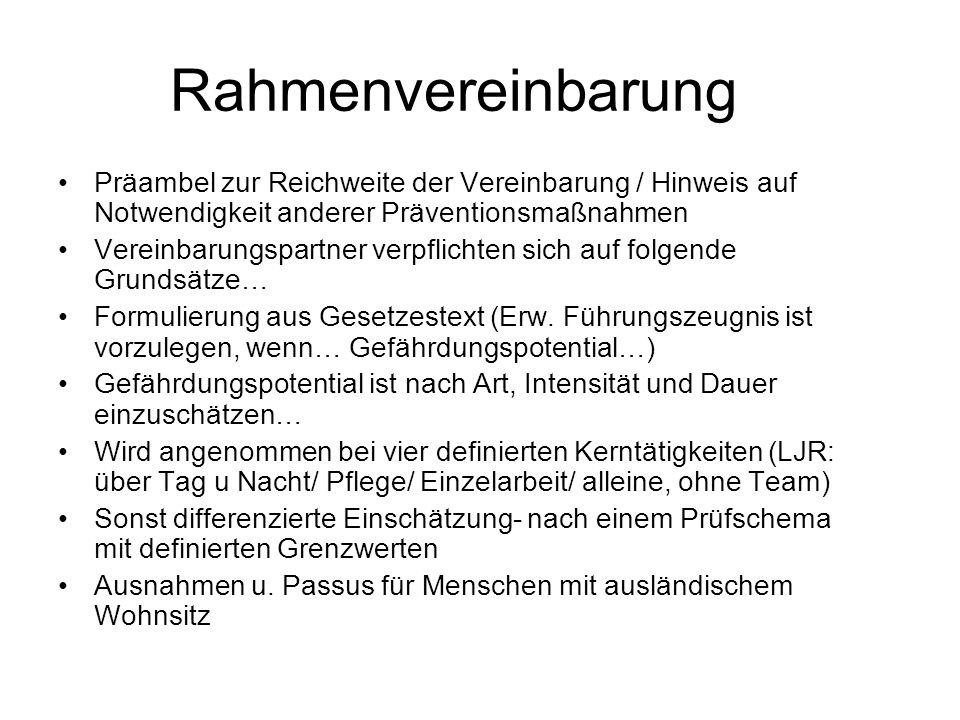Rahmenvereinbarung Präambel zur Reichweite der Vereinbarung / Hinweis auf Notwendigkeit anderer Präventionsmaßnahmen.