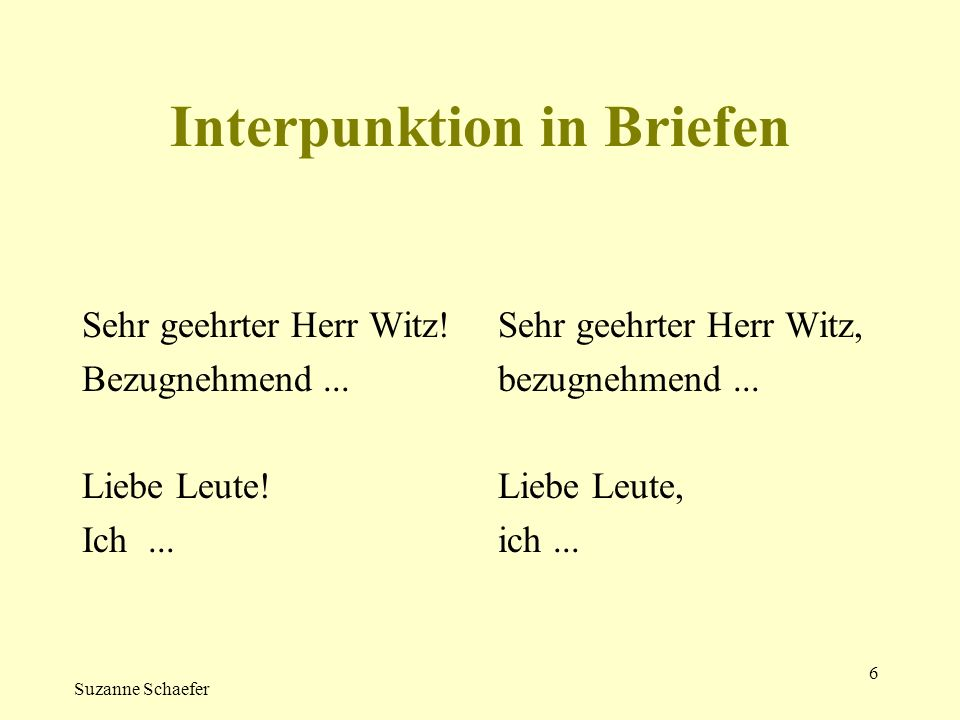 Interpunktion in Briefen