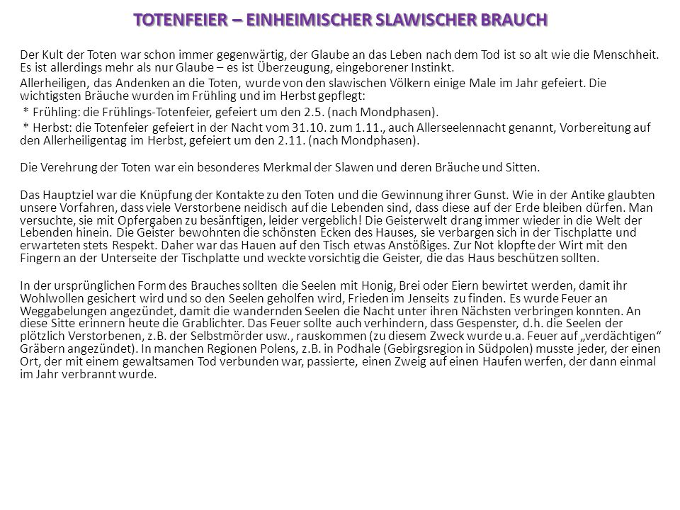 TOTENFEIER – EINHEIMISCHER SLAWISCHER BRAUCH