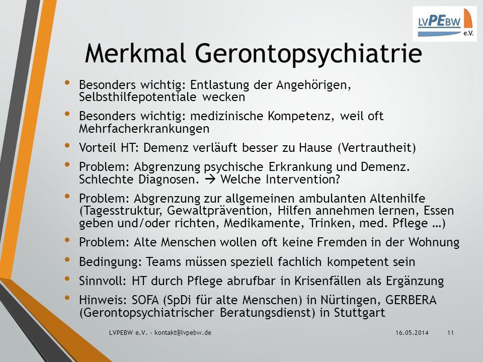 Merkmal Gerontopsychiatrie