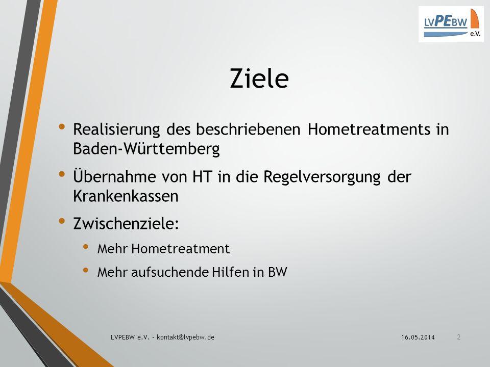 Ziele Realisierung des beschriebenen Hometreatments in Baden-Württemberg. Übernahme von HT in die Regelversorgung der Krankenkassen.