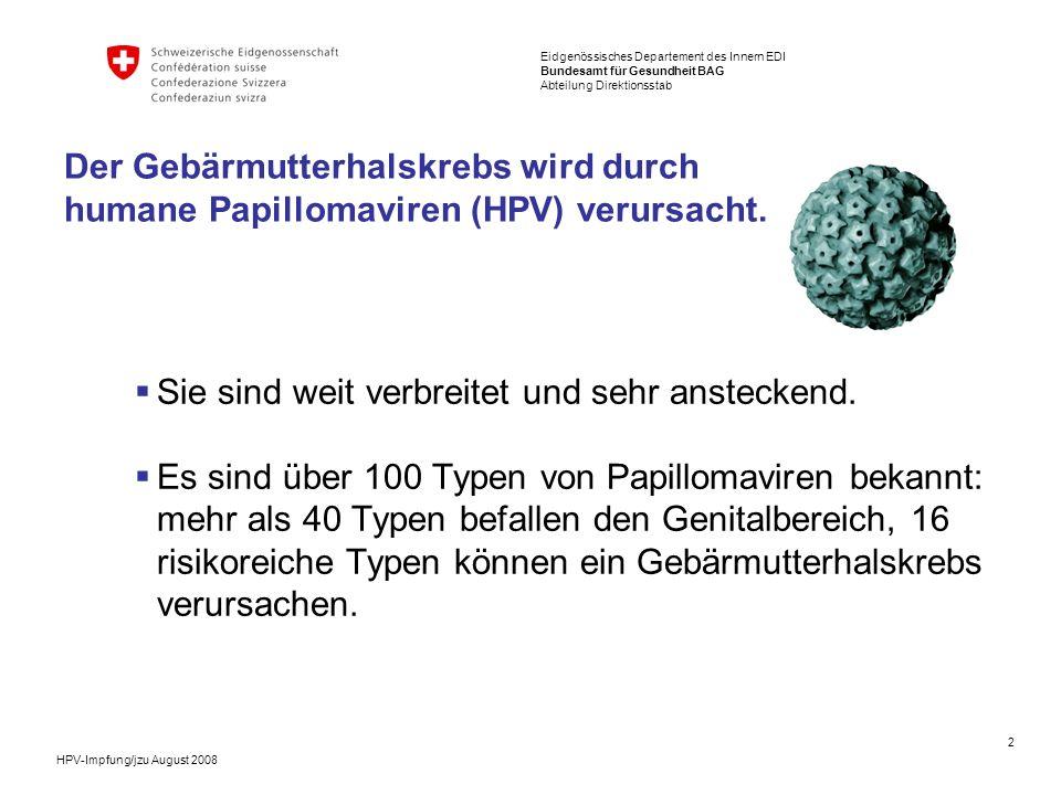 Der Gebärmutterhalskrebs wird durch humane Papillomaviren (HPV) verursacht.