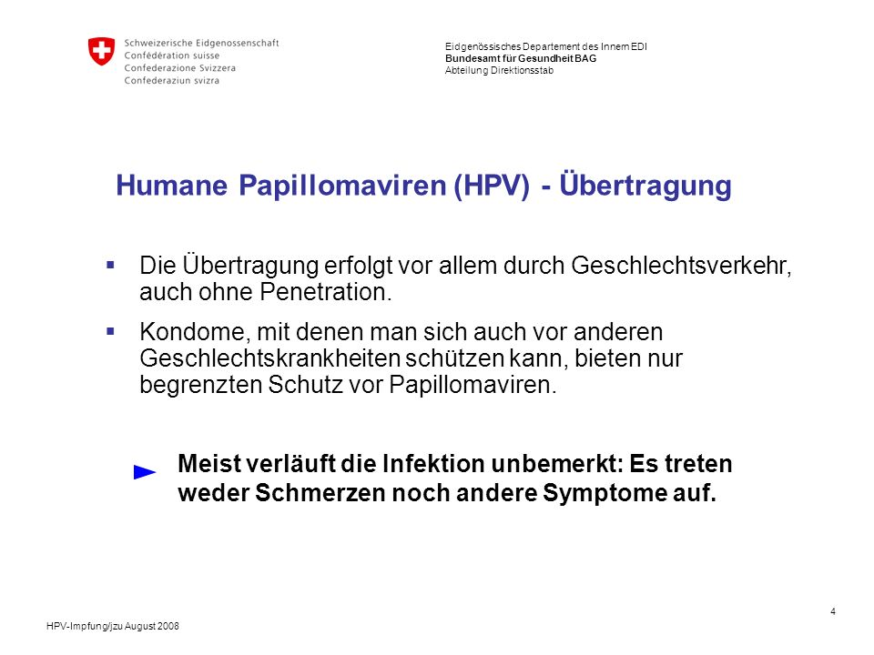 Humane Papillomaviren (HPV) - Übertragung