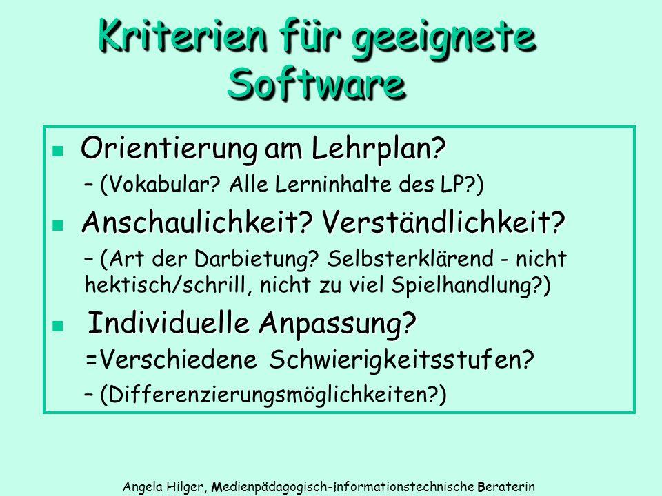 Kriterien für geeignete Software