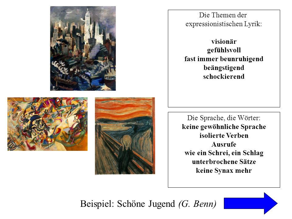 Beispiel: Schöne Jugend (G. Benn)
