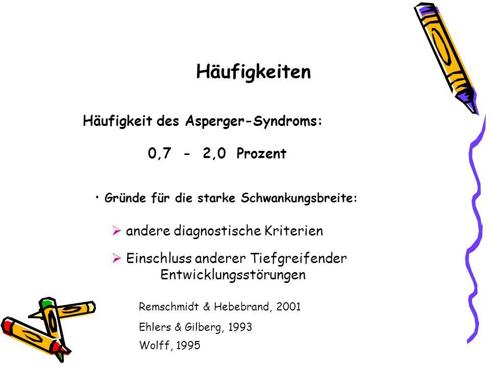 Häufigkeiten Häufigkeit des Asperger-Syndroms: 0,7 - 2,0 Prozent