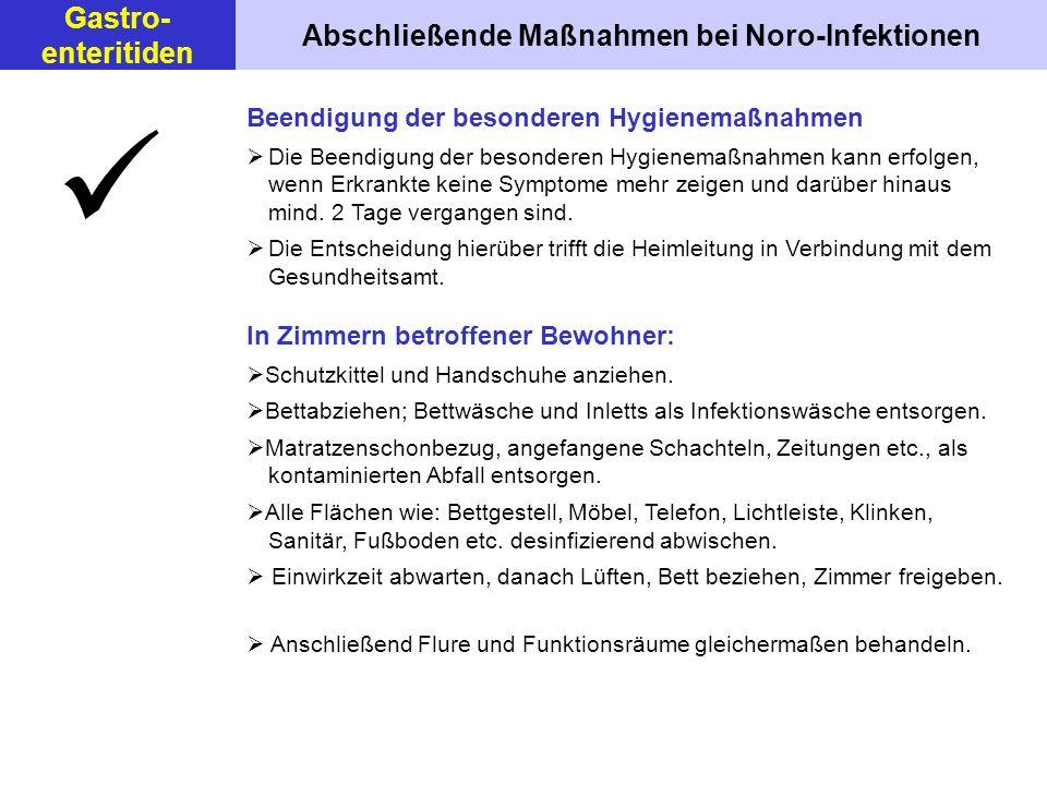 Abschließende Maßnahmen bei Noro-Infektionen