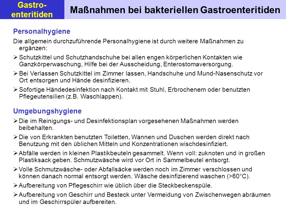 Maßnahmen bei bakteriellen Gastroenteritiden