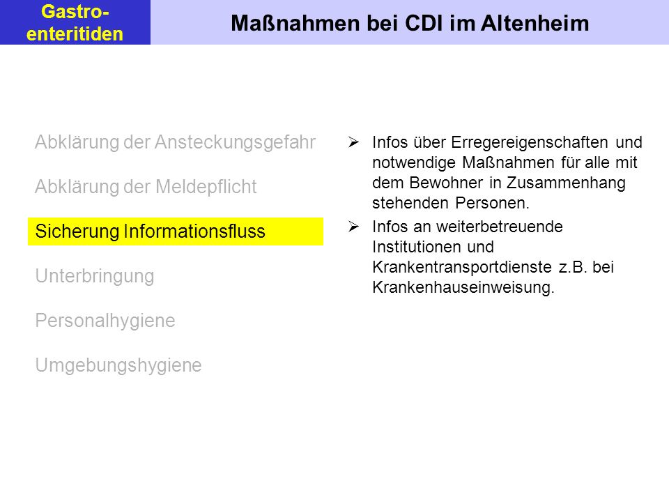 Maßnahmen bei CDI im Altenheim