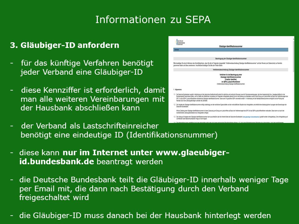 Informationen zu SEPA 3. Gläubiger-ID anfordern