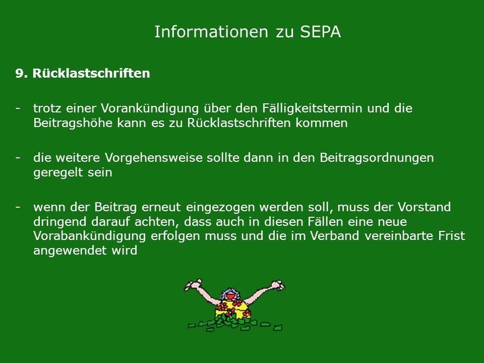 Informationen zu SEPA 9. Rücklastschriften