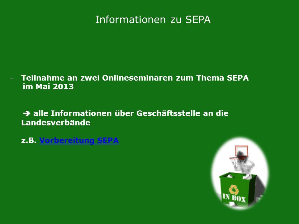 Informationen zu SEPA Teilnahme an zwei Onlineseminaren zum Thema SEPA