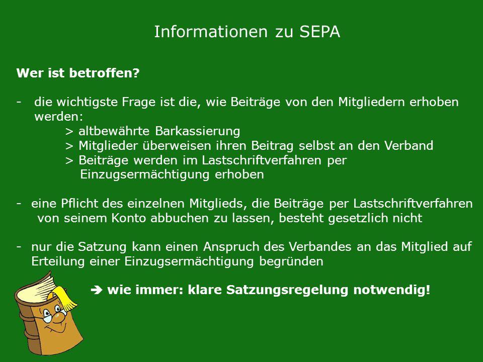 Informationen zu SEPA Wer ist betroffen