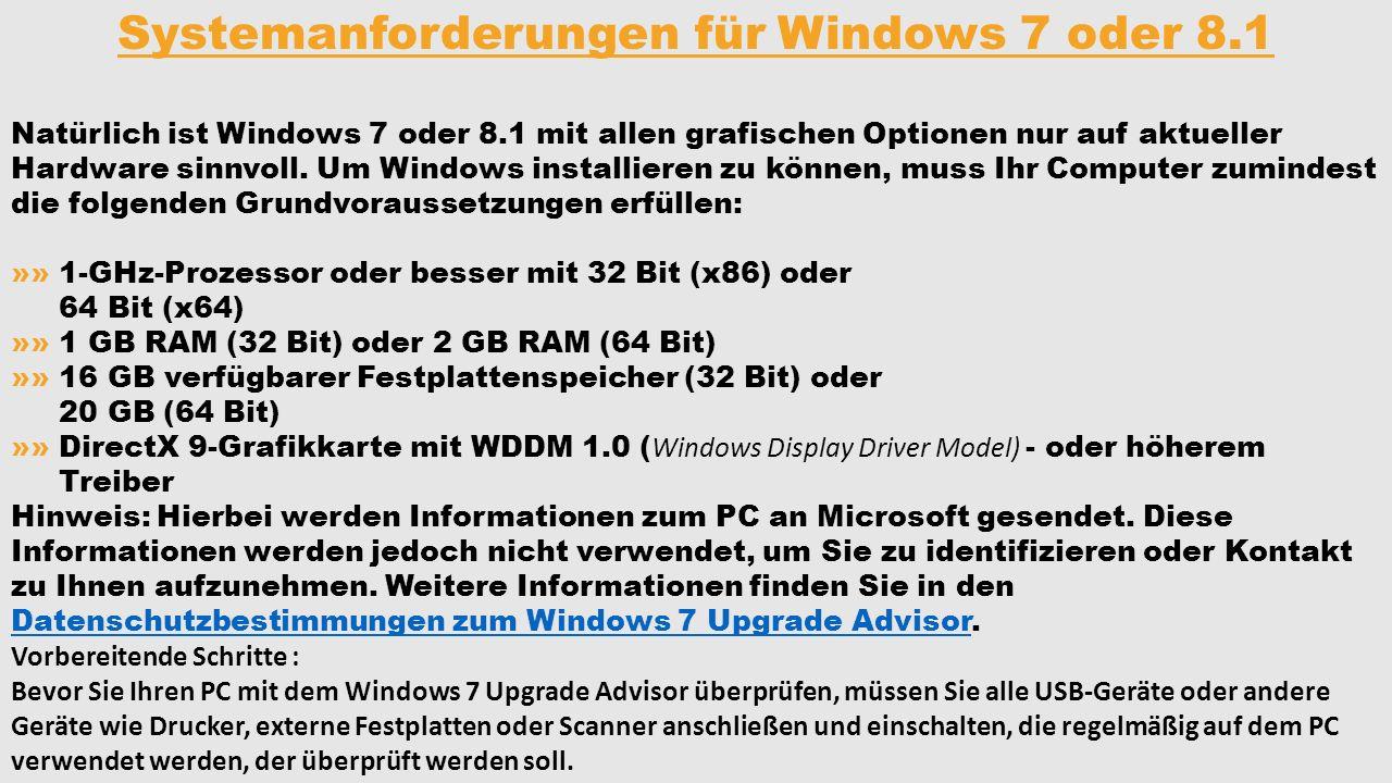 Systemanforderungen für Windows 7 oder 8.1
