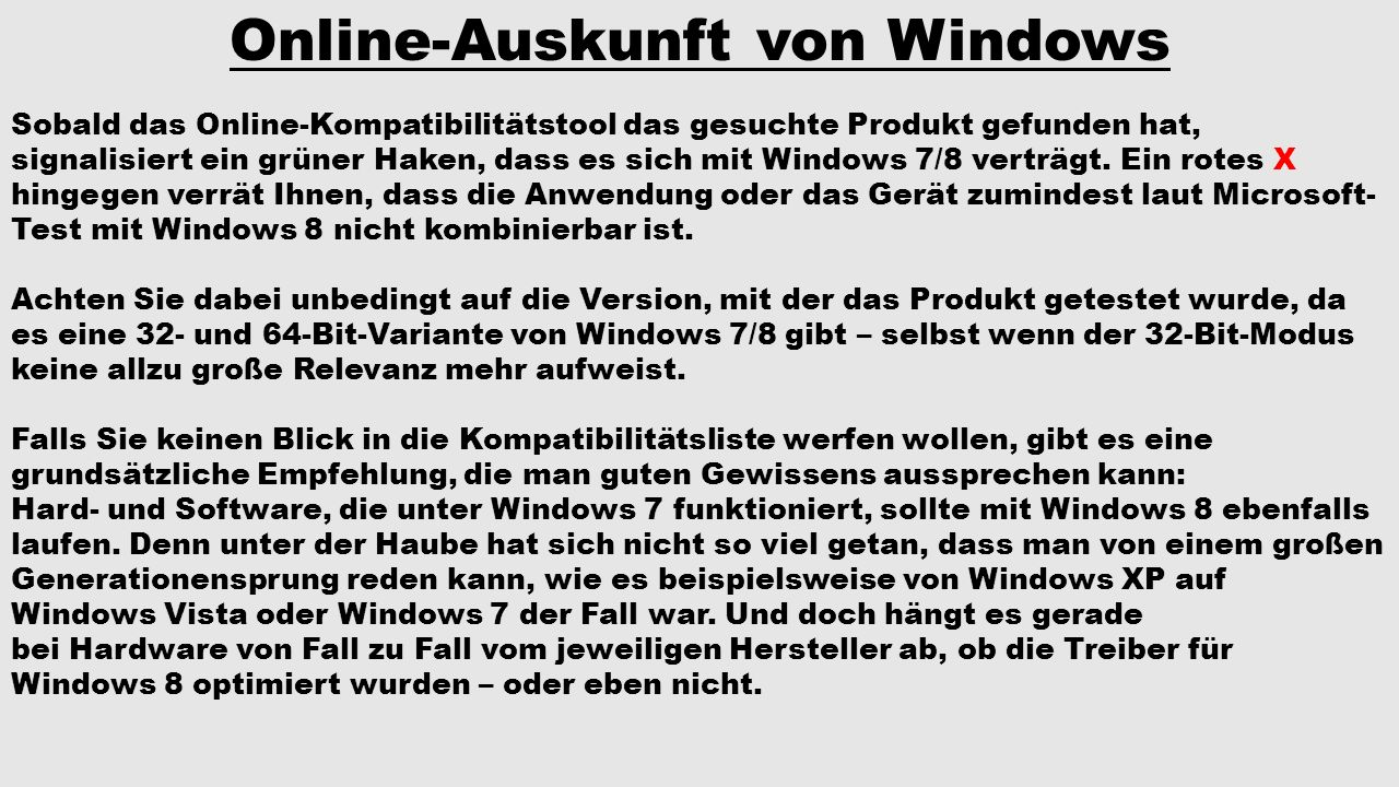 Online-Auskunft von Windows