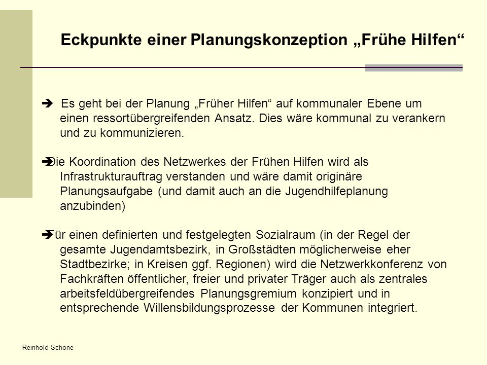 """Eckpunkte einer Planungskonzeption """"Frühe Hilfen"""