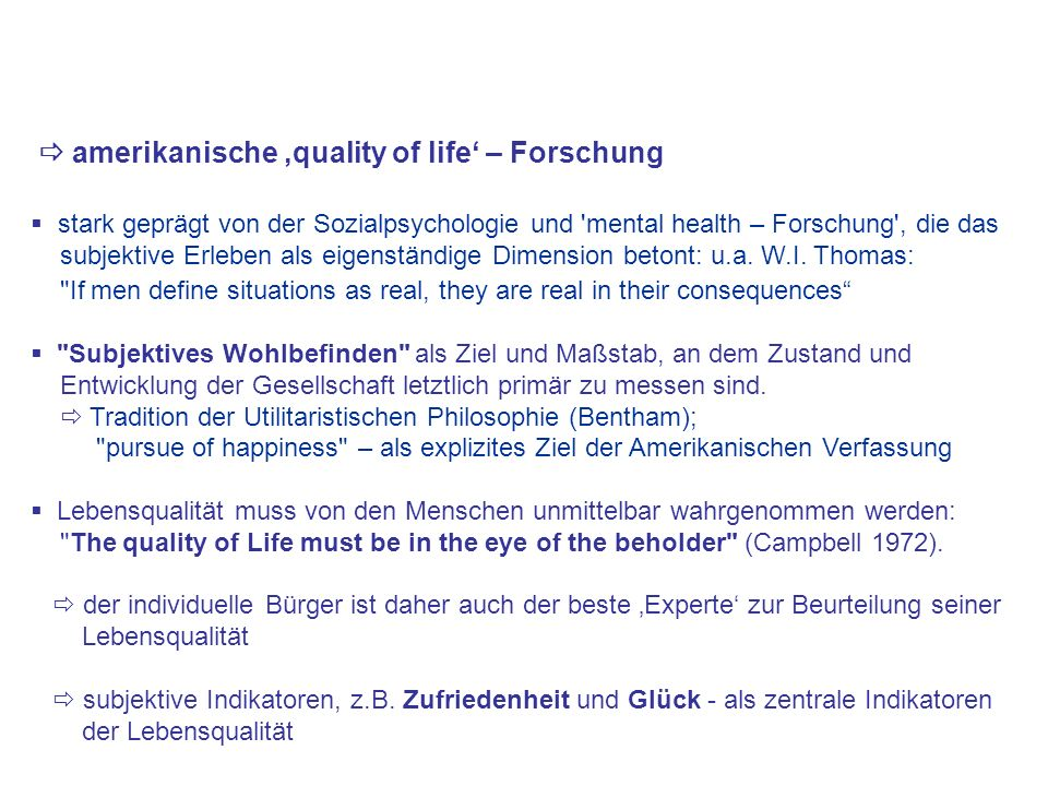  amerikanische 'quality of life' – Forschung
