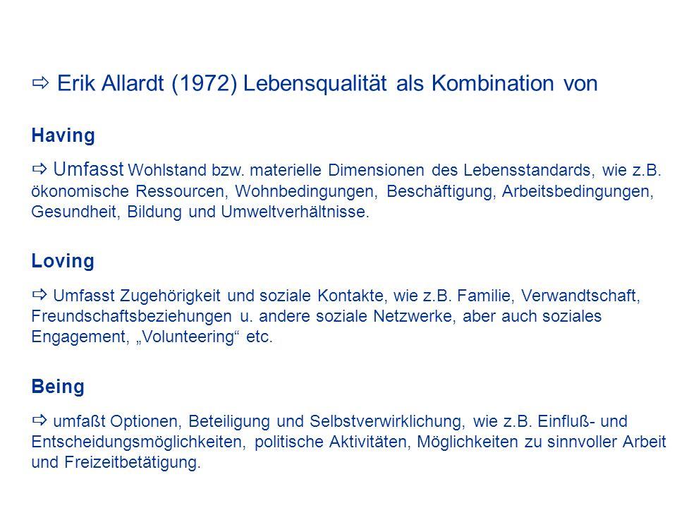  Erik Allardt (1972) Lebensqualität als Kombination von