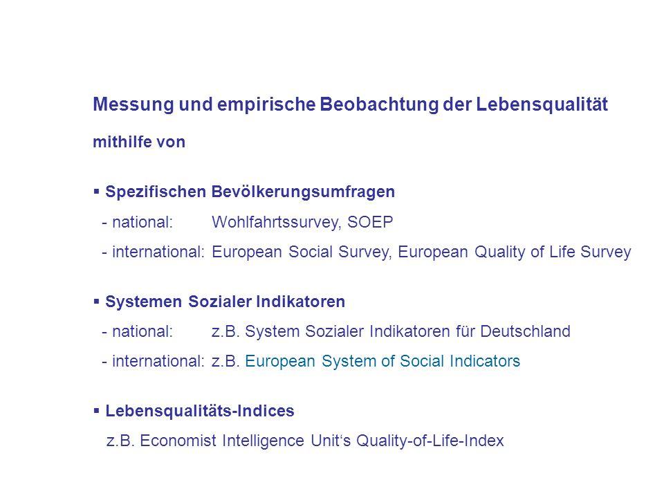 Messung und empirische Beobachtung der Lebensqualität
