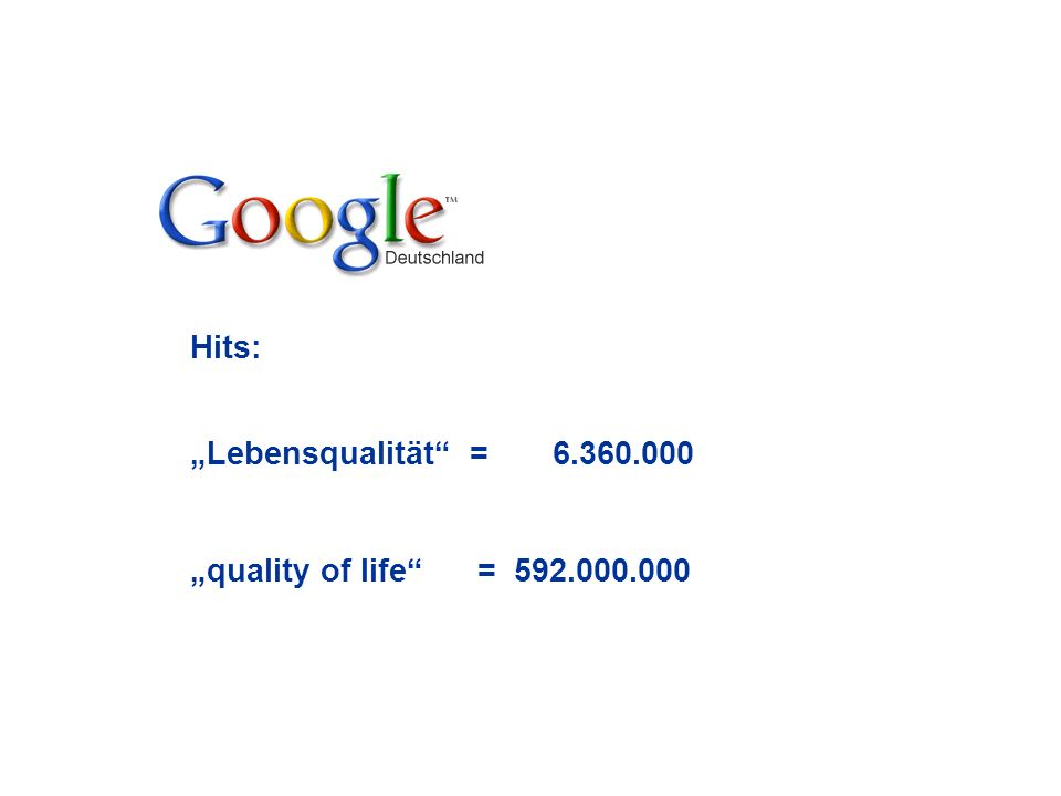"Hits: ""Lebensqualität = 6.360.000 ""quality of life = 592.000.000"