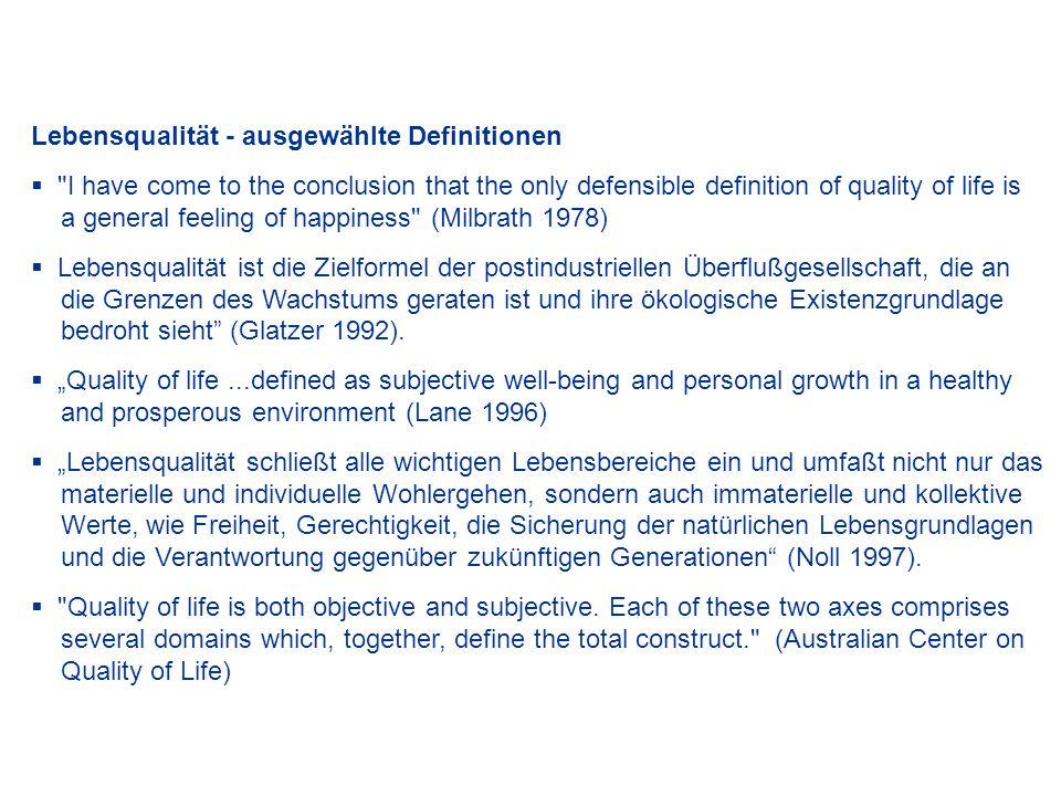 Lebensqualität - ausgewählte Definitionen