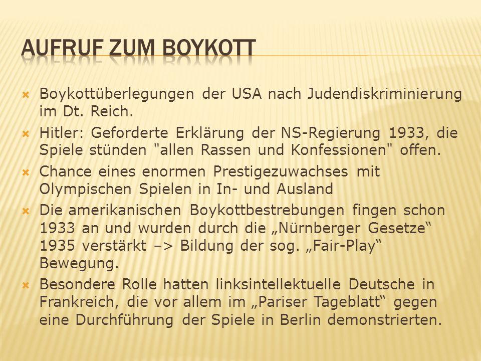 Aufruf zum Boykott Boykottüberlegungen der USA nach Judendiskriminierung im Dt. Reich.