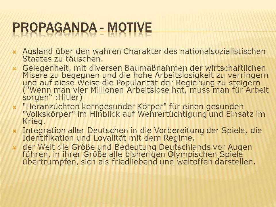 PROPAGANDA - Motive Ausland über den wahren Charakter des nationalsozialistischen Staates zu täuschen.