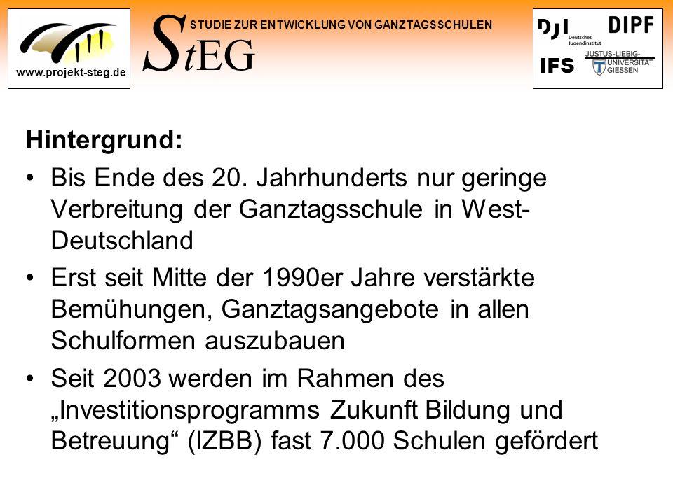 Hintergrund: Bis Ende des 20. Jahrhunderts nur geringe Verbreitung der Ganztagsschule in West-Deutschland.