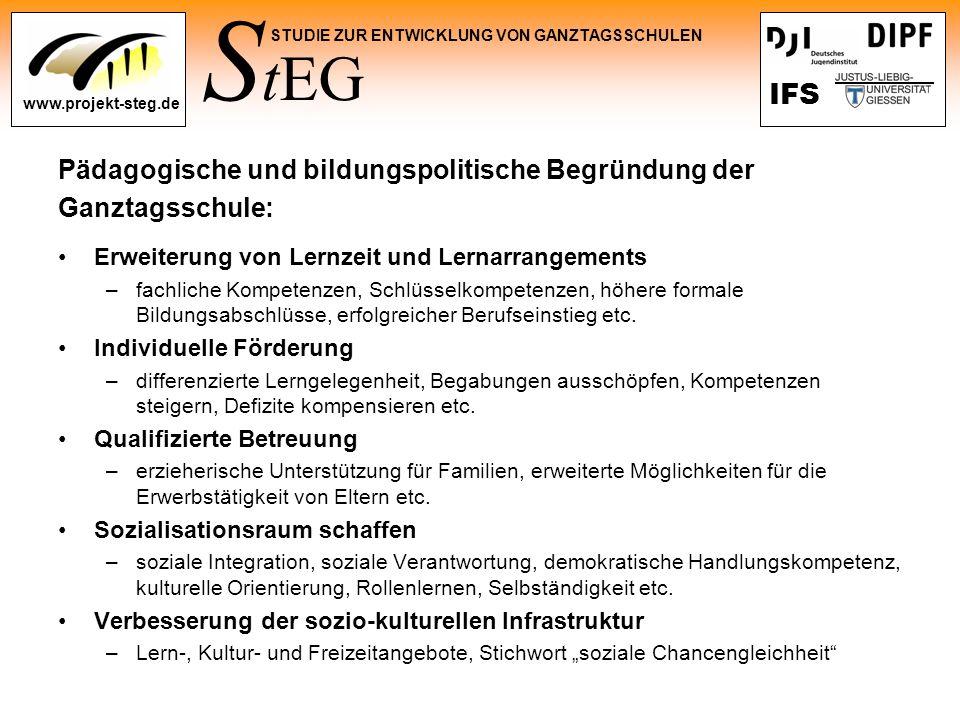 Pädagogische und bildungspolitische Begründung der Ganztagsschule: