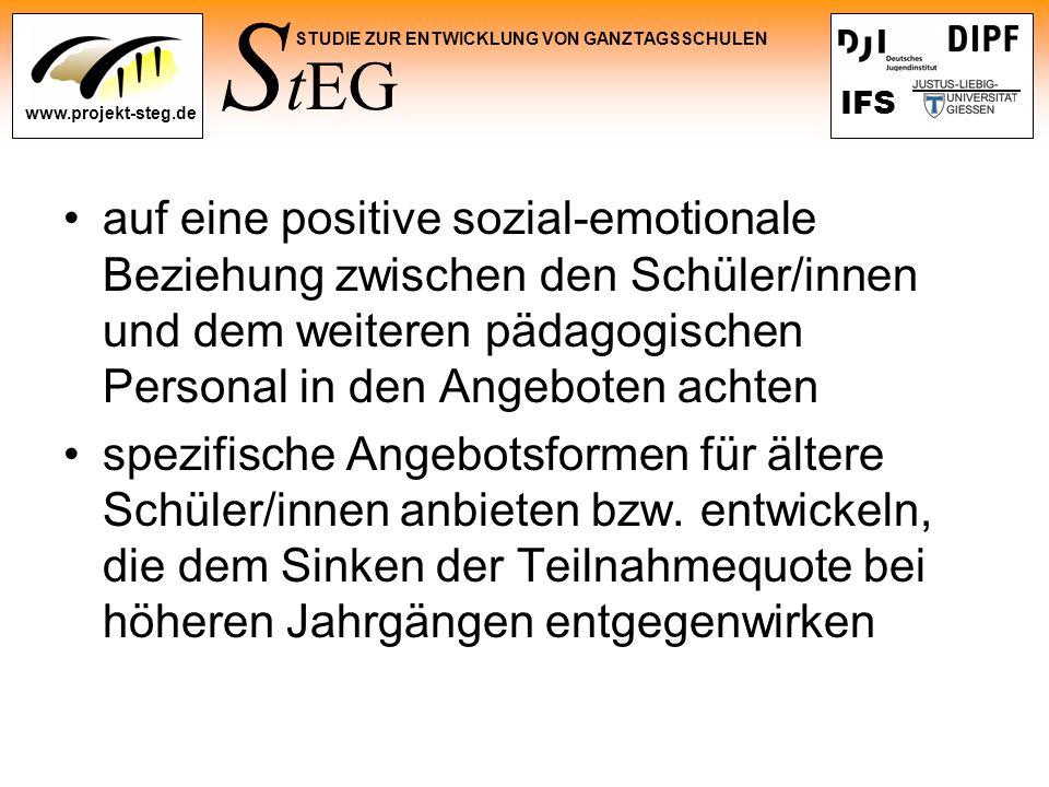 auf eine positive sozial-emotionale Beziehung zwischen den Schüler/innen und dem weiteren pädagogischen Personal in den Angeboten achten