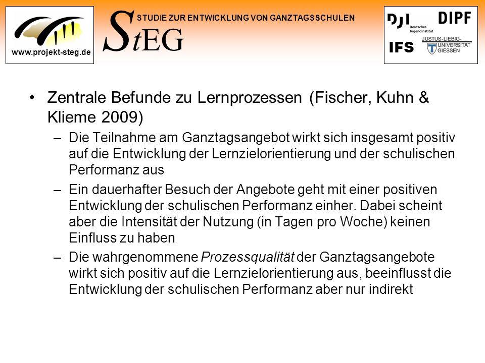 Zentrale Befunde zu Lernprozessen (Fischer, Kuhn & Klieme 2009)