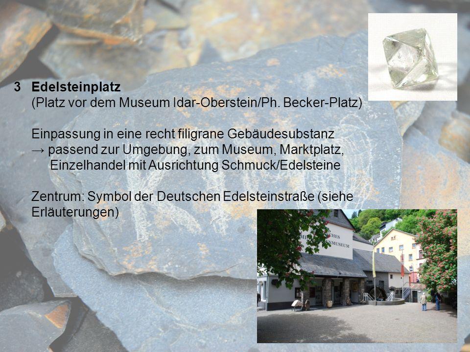 Edelsteinplatz (Platz vor dem Museum Idar-Oberstein/Ph. Becker-Platz) Einpassung in eine recht filigrane Gebäudesubstanz.