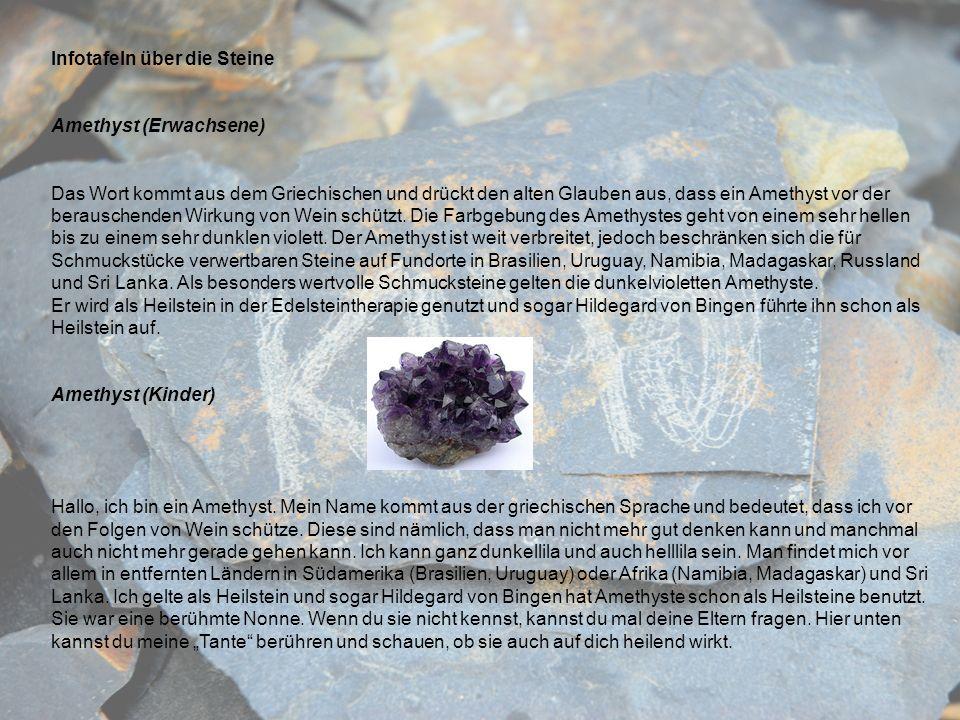 Infotafeln über die Steine