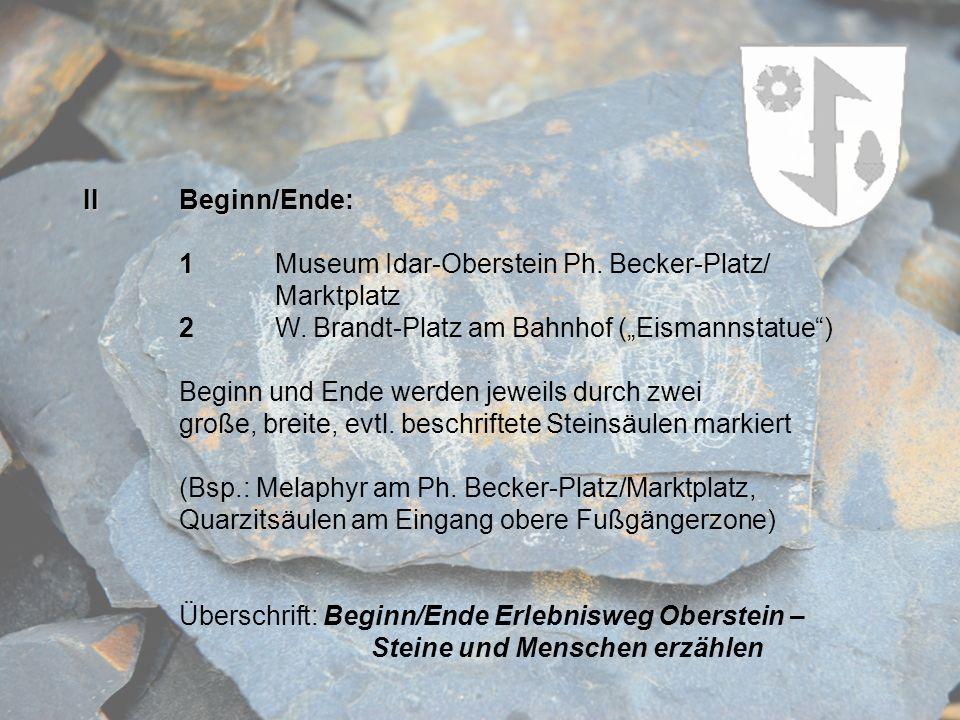 "II Beginn/Ende: 1 Museum Idar-Oberstein Ph. Becker-Platz/ Marktplatz. 2 W. Brandt-Platz am Bahnhof (""Eismannstatue )"