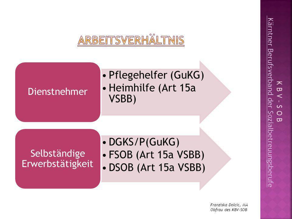 Pflegehelfer (GuKG) Heimhilfe (Art 15a VSBB) DGKS/P(GuKG)